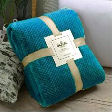 Koc wytłaczany żakardowy 200x220 narzuta na łóżko niebieski