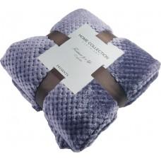 Koc wytłaczany żakardowy 200x220 narzuta na łóżko fioletowy