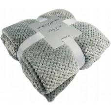 Koc wytłaczany żakardowy 200x220 narzuta na łóżko siwy