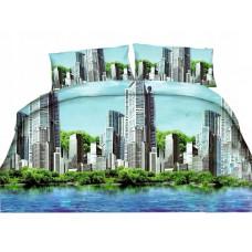 Pościel 3D rozmiar 160x200 3-częściowa miasta niebieska