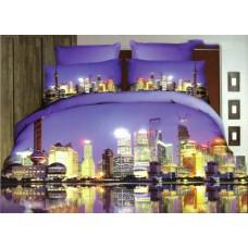 Pościel 3D rozmiar 160x200 3-częściowa miasta wzór 181