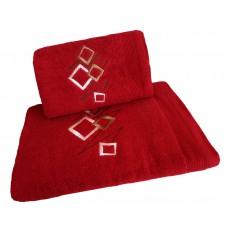 Ręcznik kąpielowy frotte 50x100 bawełna czerwony RB50100-63