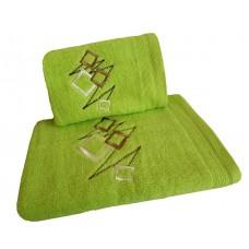 Ręcznik kąpielowy frotte 50x100 bawełna zielony RB50100-65 kwadraty