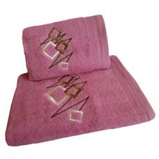 Ręcznik kąpielowy frotte 50x100 bawełna fioletowy RB50100-67 kwadraty