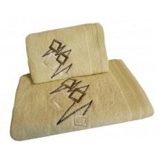 Ręcznik kąpielowy frotte 50x100 bawełna kremowy RB50100-68 kwadraty