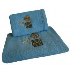 Ręcznik kąpielowy frotte 50x100 bawełna niebieski RB50100-77 figury