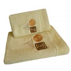 Ręcznik kąpielowy frotte 50x100 bawełna kremowy RB50100-79 figury