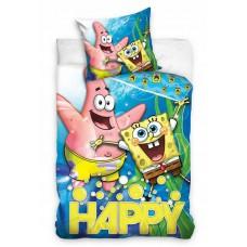 Pościel bawełniana dziecięca dwustronna 140x200 2-częściowa Spongebob