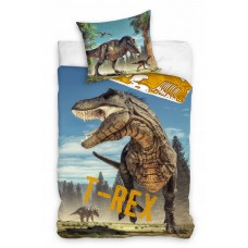 Pościel bawełniana dziecięca dwustronna 140x200 2-częściowa TRex Dinozaur