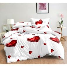 Pościel satyna bawełniana 200x220  3-częściowa biała serca dla zakochanych