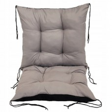Poduszka na Krzesło na Leżak Pikowana Wiązana Prostokątna 100x50 Szara