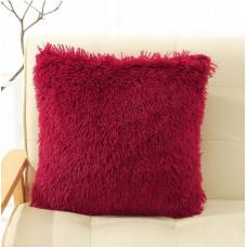 Poszewka na poduszkę ozdobna 40x40 włochata bordowa