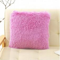 Poszewka na poduszkę ozdobna 40x40 włochata różowa