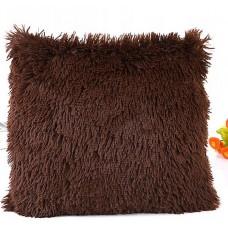 Poszewka na poduszkę ozdobna 40x40 włochata brązowa