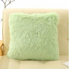 Poszewka na poduszkę ozdobna 40x40 włochata miętowa