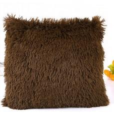 Poszewka na poduszkę ozdobna 40x40 włochata czekoladowy