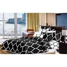 Narzuta na łóżko 200x230 dwustronna bawełniana czarna