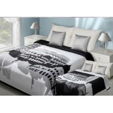 Narzuta dwustronna na łóżko 220x240 biało-czarny