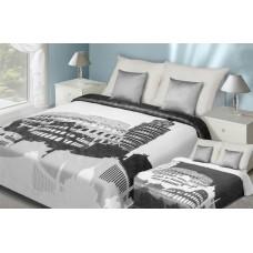 Narzuta dwustronna na łóżko 220x240 biało-srebrna