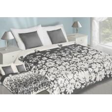 Narzuta na łóżko 220x240 dwustronna bawełniana biało-stalowa