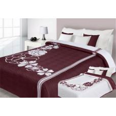 Narzuta na łóżko 220x240 dwustronna bawełniana bordo-biały