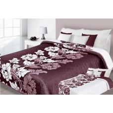 Narzuta na łóżko 220x240 dwustronna bawełniana bordo-biała