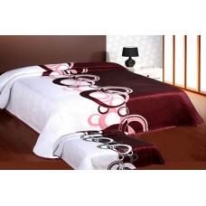 Narzuta na łóżko 220x240 dwustronna bawełniana nanet-bordo