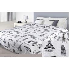 Narzuta dwustronna na łóżko 220x240 biało-czarna city