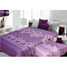 Narzuta na łóżko 220x240 dwustronna bawełniana fiolet-lilowa