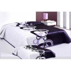 Narzuta na łóżko 220x240 dwustronna bawełniana nanet-fiolet