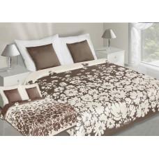 Narzuta na łóżko 220x240 dwustronna bawełniana krem-brązowa