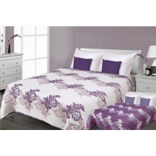 Narzuta na łóżko 220x240 dwustronna bawełniana krem-fiolet