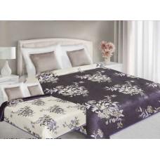 Narzuta na łóżko 220x240 dwustronna bawełniana kremowo-fioletowa