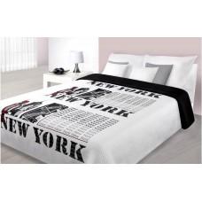 Narzuta dwustronna na łóżko 220x240 biało-czarna New York
