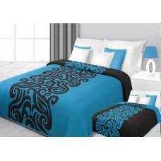 Narzuta na łóżko 220x240 dwustronna bawełniana turkus-czarny