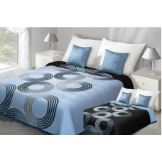 Narzuta na łóżko 220x240 dwustronna bawełniana turkus-czarna