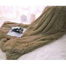 Narzuta na łóżko 160x200 dwustronna puszysta włochacz brązowa