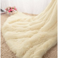 Narzuta na łóżko 160x200 dwustronna puszysta włochacz kremowa