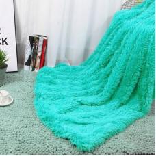 Narzuta na łóżko 160x200 dwustronna puszysta włochacz zielony miętowy