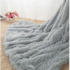 Narzuta na łóżko 160x200 dwustronna puszysta włochacz siwa szara