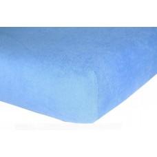 Prześcieradło frotte bawełniane z gumką 140x200 grube błękitne