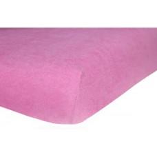 Prześcieradło frotte bawełniane z gumką 140x200 grube różowe