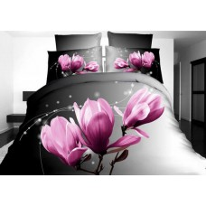 Pościel 3D rozmiar 160x200 3-częściowa wzór 236-11 kwiaty