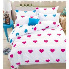 Pościel dla zakochanych 160x200 biała w serca wzór 2