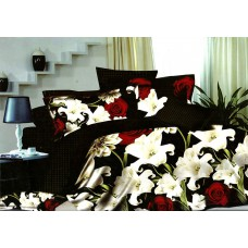Pościel 3D rozmiar 160x200 4-częściowa kwiaty CW-FSH1604-16 róże lilie