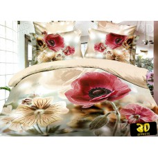 Pościel 3D rozmiar 160x200 4-częściowa kwiaty CW-FSH1604-8 maki