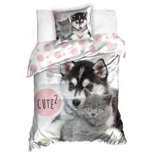 Pościel dziecięca bawełniana 140x200  2-częściowa kot i pies Best Friends NL202020