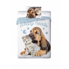 Pościel dziecięca bawełniana 160x200  2-częściowa kot i pies Best Friends 12