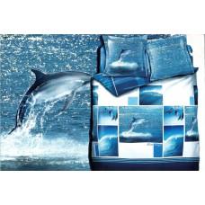 Pościel satyna bawełniana 200x220 3-częściowa opakowanie na prezent CW-XWK2203-4 delfiny