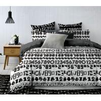 Pościel satyna bawełniana 200x220 3-częściowa wzór CW-XW2203-81 czarno-biała